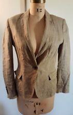Zara 100% classic  linen women's tan dark beige one button blazer jacket Lrg 30