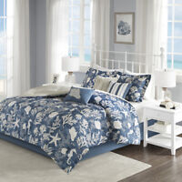 BEAUTIFUL BLUE WHITE BEACH NAUTICAL SEA SHELL TROPICAL COAST OCEAN COMFORTER SET
