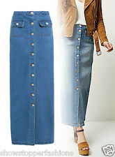 NEW Womens Full Length Blue Long Button Up Denim Maxi Skirt Size 8 10 12 14 16