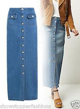 NEW Womens Full Length Blue Long Button Up Denim Maxi Skirt Size 8 10 12 14