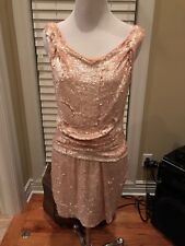 PARKER SILK BLUSH NUDE MILLENNIAL PINK SEQUIN MINI dress SIZE SMALL *NEW $350