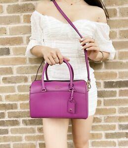 Kate Spade Devyn Medium Duffle Satchel Crossbody Purse Bajarose Purple Leather
