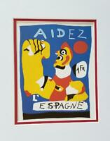 Joan Miro Aidez L'Espangne  Poster Print Matted Offset Color Lithograph 1980