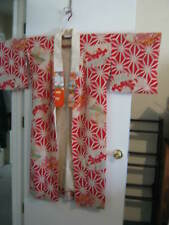 VINTAGE JAPANESE WOMEN'S LINED SILK KIMONO Red and White