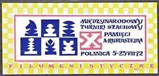 POLAND 1972 Matchbox Label - Cat.A#017  X Intl. Chess Tournament  A Rubinstein