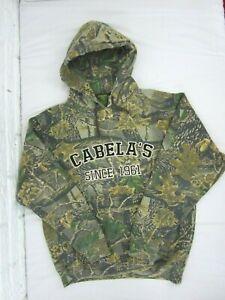 Cabela's Spellout Hoodie Mens Size M Sweatshirt Pullover Camo Fleece LIned