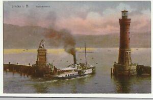 Lindau am Bodensee, Hafeneinfahrt, Dampfer, Leuchtturm, alte AK ca. 1910