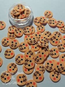 X20 Reindeer Deer Fimo Clay Slices Craft Embellishment Christmas 10mm approx