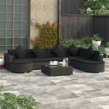 vidaXL Loungeset met Kussens 8-delig Poly Rattan Zwart Tuinset Terrasset Stoel