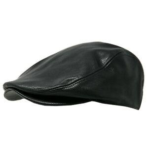 Men's PU Leather Classic Newsboy Hat Ivy Cap Gatsby Cabbie Driving Golf Hat