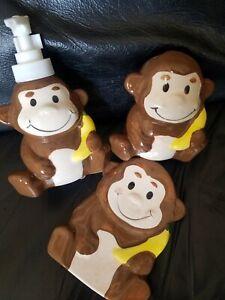 NEW MONKEY BATHROOM SET SOAP DISH LOTION DISPENSER TOOTHBRUSH HOLDER BATHROOM