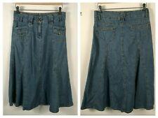 """Vtg Womens Denim Skirt Jean Skirt Long Modesty Skirt sz 8 33"""" x 32"""" Boho Hippie"""