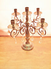 VTG Beautiful Table Top Candelabra/ 5 Candle Holders/ Sparkling Crystal Pendants
