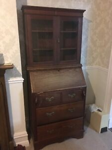 Antique Edwardian Bureau Bookcase