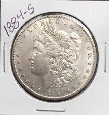 1884-S MORGAN SILVER DOLLAR, AU+ DETAILS!