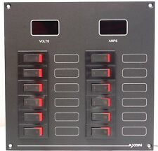12 Way DC Circuit Breaker Panel with Volt & Ammeter, 12 or 24 Volts
