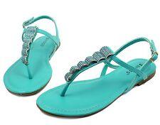 Josalyn-19 Precious Stone Flats Sandals Gladiator Party Women Shoes Mint 5.5