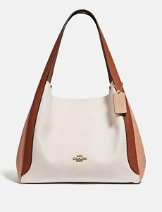 💚 COACH 76088 Colorblock Hadley Hobo Shoulder Bag Tote Purse Handbag~Chalk NWT