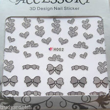 3D Design Nail Art Stickers Decals Transfers Valentines Lace Hearts Bows (H002)