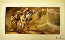 Mick Cawston signé racing Limited Edition Print arrondi Bend The Greyhound