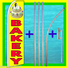 BAKERY SWOOPER FLAG + 15' TALL POLE + MOUNT Feather Swooper Flutter Bow Banner
