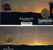 """2005 $1 Gallipoli """"S"""" Mintmark - Uncirculated"""