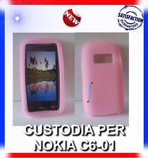 Custodia COVER CASE SILICONE ROSA PER NOKIA C6-01