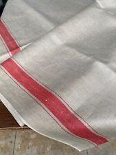 Altes Leinen Roll/Mangeltuch roter Randstreifen,Antique Mangelcloth