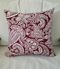 Burgundy and White Paisley Print Cotton Pillow Covers - Various Sizes
