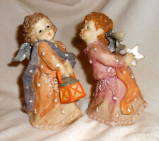 Set of 2 Kissing Christmas Angels Figurines Vgc