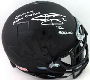 Johnny Manziel Signed Aggies Blk Schutt Mini Helmet w/ 2 Insc- Beckett W *Silver