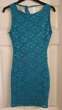Size 8 lipsy London women's cowl back lace overlay sleeveless dress teal