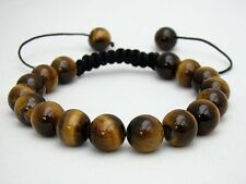 Men's Shamballa bracelet all 10mm TIGER EYE STONE beads a1098