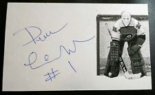 Pelle Lindbergh Signed Autograph 3x5 Index Card NHL Flyers Goalie RARE d.85