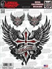 Aufkleber Set Glaubenskreuz mit Flügel Faith Cross Sticker Decal Airbrush