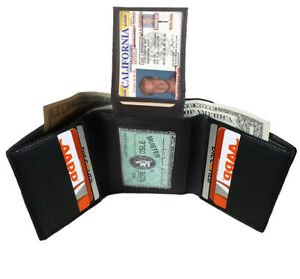 BLACK MEN'S GENUINE LEATHER TRIFOLD WALLET 7 CARD 2 ID WINDOW FLAP TOP HOLDER