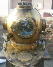 X-Mas Antique Brass Scuba Solid Sca Divers Helmet Mark V Royal Navy Marine B