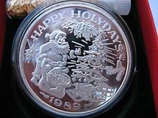 1-OZ. VINTAGE CHRISTMAS TREE SANTA RARE TRADE UNIT .999  1989 SILVER  COIN+GOLD