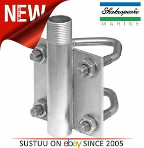 Shakespeare AHDVM Heavy Duty SS Vertical Antenna Mount/ Pole with U-Bolts + Nuts