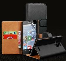 Genuine Real Leather Wallet stand case fo Windows Lumia 950 & Screen Protector
