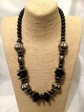 Womens Ladies STATEMENT Long Black Silver Beaded Faux Pearl Necklace Party