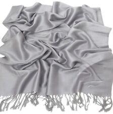 CJ Apparel Silver Grey Solid Colour Design Shawl Pashmina Scarf Wrap Seconds