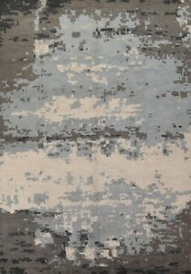 Abstract Modern Oriental Area Rug Hand-knotted Living Room Large Carpet 10'x13'