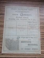 1900 1901 EDINBURGH MUSIC HALL PEOPLES ENTERTAINMENT SOCIETY PROGRAMME
