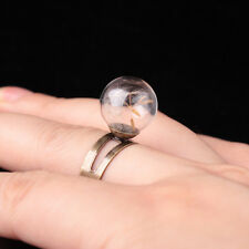 Fashion Dandelion Real Flower Seed Resizable Mid Finger Rings for Women Jewelry