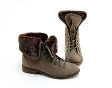 Stiefeletten Boots Blockabsatz Schnürer Kunstleder braun Gr. 38 neuwertig