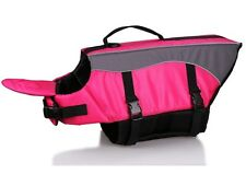 Life Vest Jacket for Dogs - Pink - M - Swimming Safety Floatation - grab handle