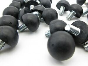 Rubber Feet with Threaded Stud. Rubber Bumpers. 3 Sizes. Multiple Pack Qty.