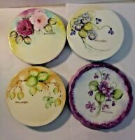 Signed Hand Painted Porcelain Tea Tile Trivet - lot of 4 pieces - Doris M Guffey
