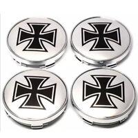 4x 60mm Eisernes Kreuz Silber Schwarz Nabendeckel Felgen Nabenkappe Alufelne NEU